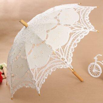Vintage Handmade Cotton Parasol Lace Umbrella Party Wedding Bridal Decoration Handle length 65cm White(Intl) - Intl