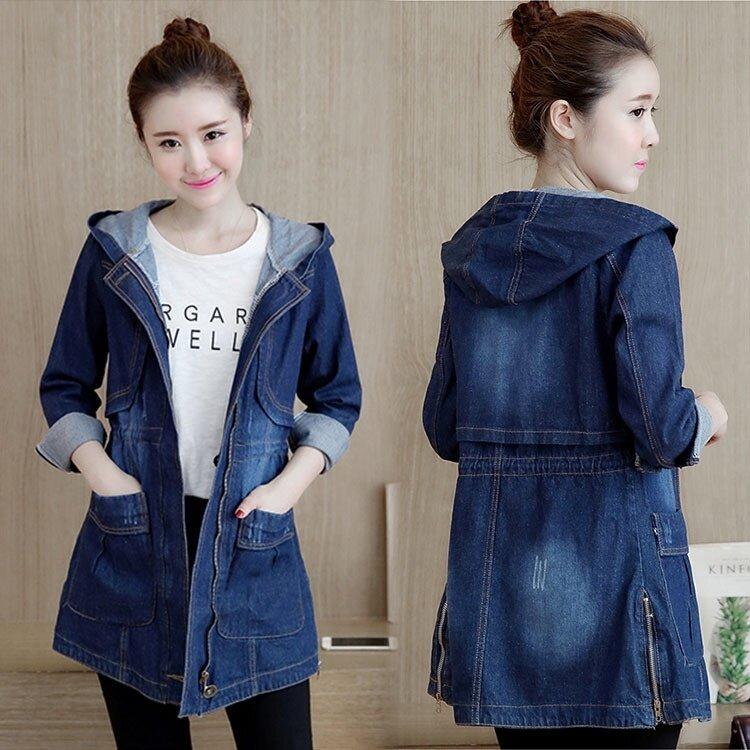 Vintage Long Basic Coats Women Casual Loose Jean Jackets Girls Streetwear Plus Size S-3XL Hooded Denim Jacket Coat New Fashion - intl