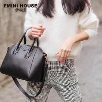 Vintage Small Size Genuine Leather Handbag Women Shoulder Bags Fashion Trapeze Bag กระเป๋าถือ (Black)