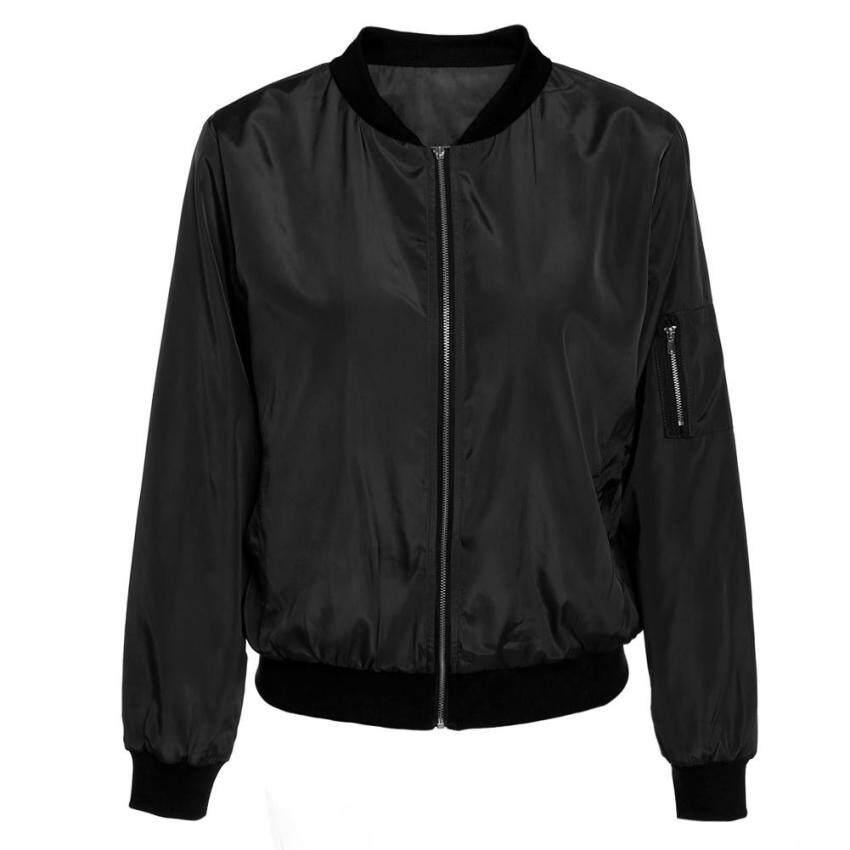 Vintage Zip Up Classic Padded Bomber Jacket Biker Coat (Black)(M) - intl
