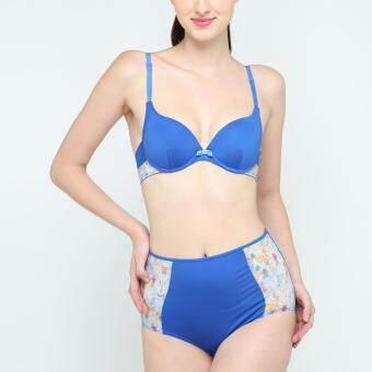 Wacoal Mood Fashion Bra เซ็ทชุดชั้นในกางเกงชั้นใน บราเสริมฟองน้ำ 3/4 cup(สีน้ำเงิน/BLUE) - MM1569BU+MM6315BU