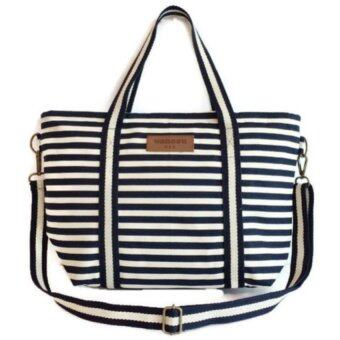 wanasu กระเป๋าผ้าแคนวาส handmade รุ่น tote baggu blue liner (สีน้ำเงิน)