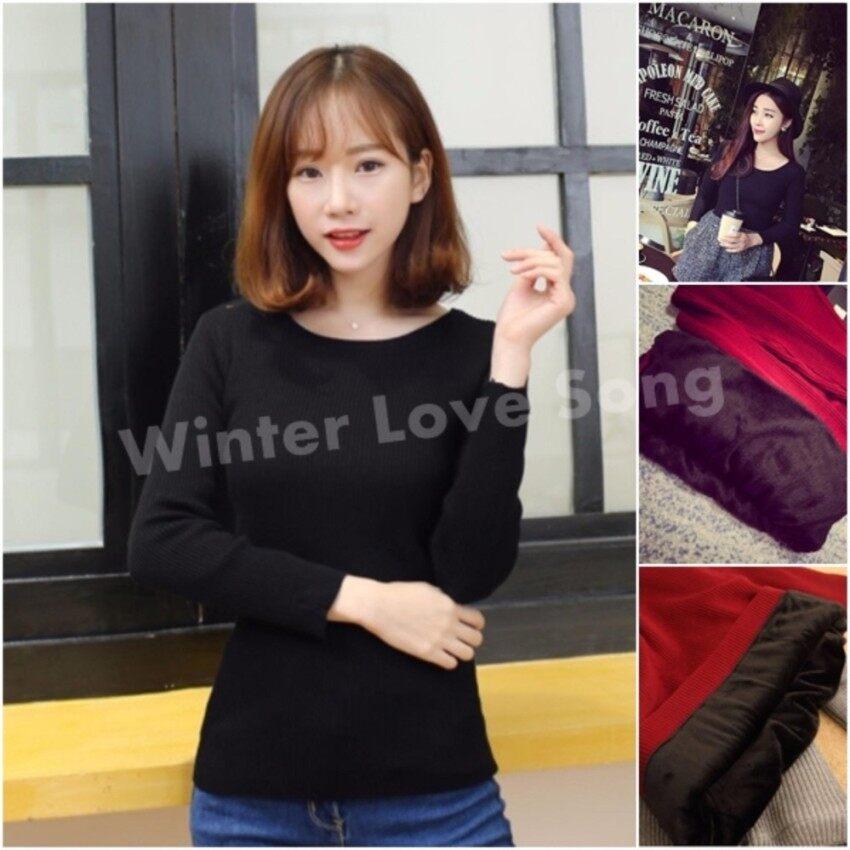 เสื้อแขนยาว เสื้อแขนยาวบุขน เสื้อกันหนาว เสื้อบุขน ลองจอน ฮีทเทค Warm Long Shirt (สีดำ)