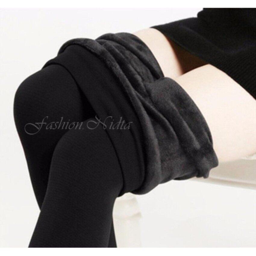 Warm Winter Leggings Pant เลกกิ้งบุขน สกินนี่บุขน กางเกงบุขน ถุงน่องกันหนาว ขนาด ฟรีไซส์ (BLACK/สีดำ)