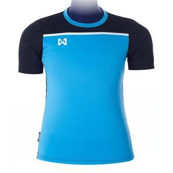 WARRIX SPORT เสื้อฟุตบอลพิมพ์ลาย WA-1531 ( สีฟ้า-ดำ )