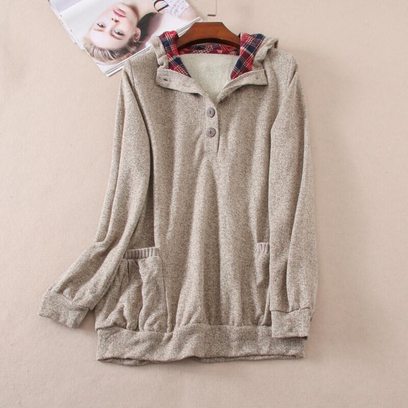 Wc99 ลำลองแขนยาวกระเป๋าคู่ถักขนแกะคลุมด้วยผ้าเสื้อสวมหัวเสื้อกันหนาว (สีกาแฟสีน้ำตาล)