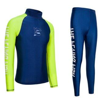 Wetsuit Men For Surfing Two Piece Scuba Diving Long Sleeve Sun Protection-Fluorescent Green - intl