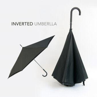 Wins 2in1 ร่มไม้เท้าต้านลมแข็งแรงพิเศษ ตั้งพื้นได้ รุ่น InvertedUmbrella - Black