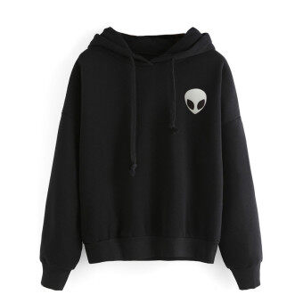 Winter Casual Pullovers Hooded Hoodies Women Clothing Alien PrintHooded 2016 Autumn Long Sleeve Fashion Fleece Hoody Sweatshirt -intl