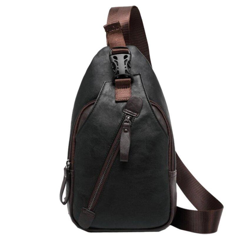 WIOZONE กระเป๋าคาดไหล่ กระเป๋าคาดอก กระเป๋าสะพายไหล่ กระเป๋าคาดบ่า หนังเกรด Premium Shoulder Bag (สีดำ)(ฺBlack)