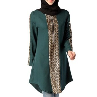 Woman Chiffon Blouse Shirt Fashion Plus Size Abayas Muslim GirlsClothing Costume - intl