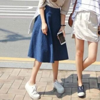 Women Denim Skirt Jeans High Waist Woman Skirts Womens Fashion Denim Knee-length A-line Elastic Waist All-match Blue Midi Skirt - intl - 2