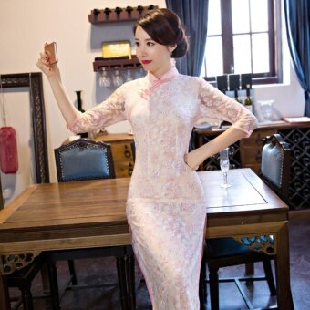 Women Fashion Summer Silm Chinese Wind Elegant Cheongsam (Apricot)- intl