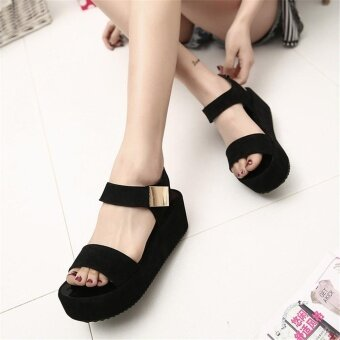 Women Flat High Wedge Sandals Ankle Strap Velcro Platform ShoesChunky Creepers - intl