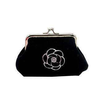 Women Lady Flannel Retro Vintage Flower Small Wallet Hasp Purse Clutch Bag Black - intl