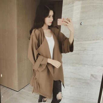 Women Leisure Fashion Thin Fabric Loose Lapel Pocket Elastic Lace-Up Pure Color Trench Coat (Brown) - intl