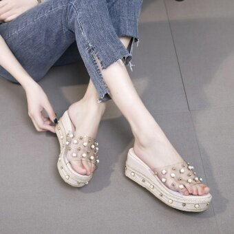Women Leisure Wedges Sandals Platform Slippers Sexy Beading Slides-Beige - intl