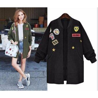 women long sleeve military drape plus size zipper loose coat jacketouterwear tops size xl 5xl black intl 1502652807 87240183 9281db7a70b978d30c927754e0cb8d9e product ขายแล้ว Women Long Sleeve Military Drape Plus Size Zipper Loose Coat JacketOuterwear Tops Size XL 5XL   Black