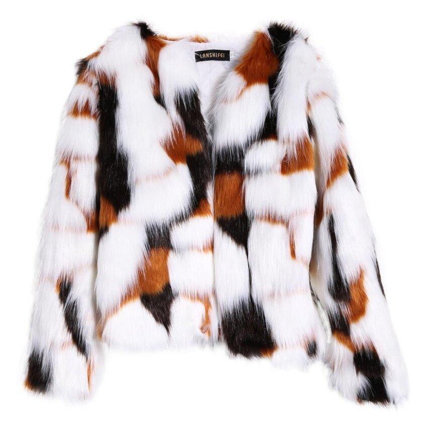 Women Long Sleeve Mixed Color Faux Fox Fur Coat Cardigan Cropped Loose Outwear - intl