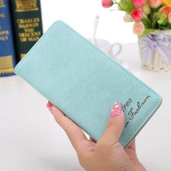 Women Long Wallet Card Holder Purse Matte Leather Wallets(Sky Blue)- intl
