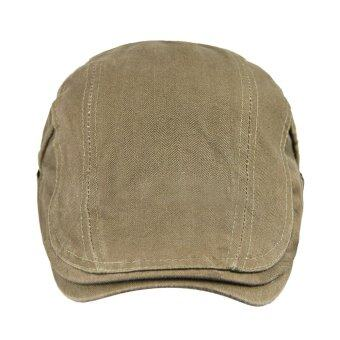 Women Men Cotton Flat Beret Hat British Style Duckbill CabbieDriver Cap Unisex Summer Sun Hat Vintage Adjustable Gatsby Hat forBeach Hunting Travelling Khaki - intl