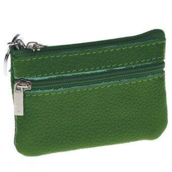 Women Men Genuine Leather Mini Zip Coin Key Purse Money Wallet(Green)
