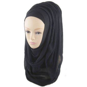 Women Muslim Voile Soft Head Neck Wrap Cover Hat Long Shawl HijabScarf Black (Intl)
