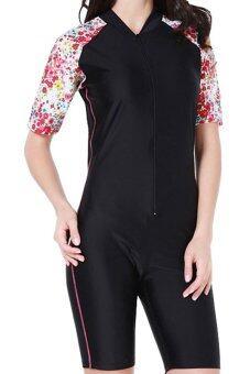 Women One Piece Swimwear Short Sleeve Swimsuit Summer Diving Snorkeling Swim Tee Wet Suit Rashguard - Red