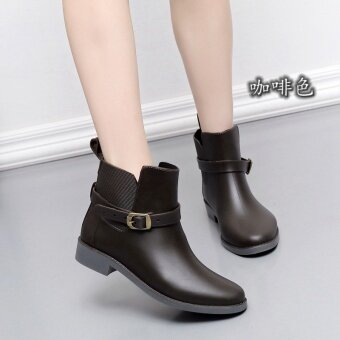 Women PVC Matte Low Cut Martin Rainboots(Coffee) - intl