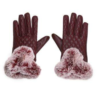 Women Rabbit Fur Ball PU Leather Gloves Winter Mitten Grid Gloves(Red) - intl