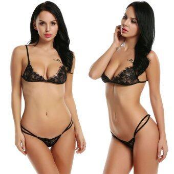 Women Sexy Lingerie Set Hollow Out Lace Underwear Bra Top and\nElastic Waist G-Sting Thongs Nightwear Sleepwear