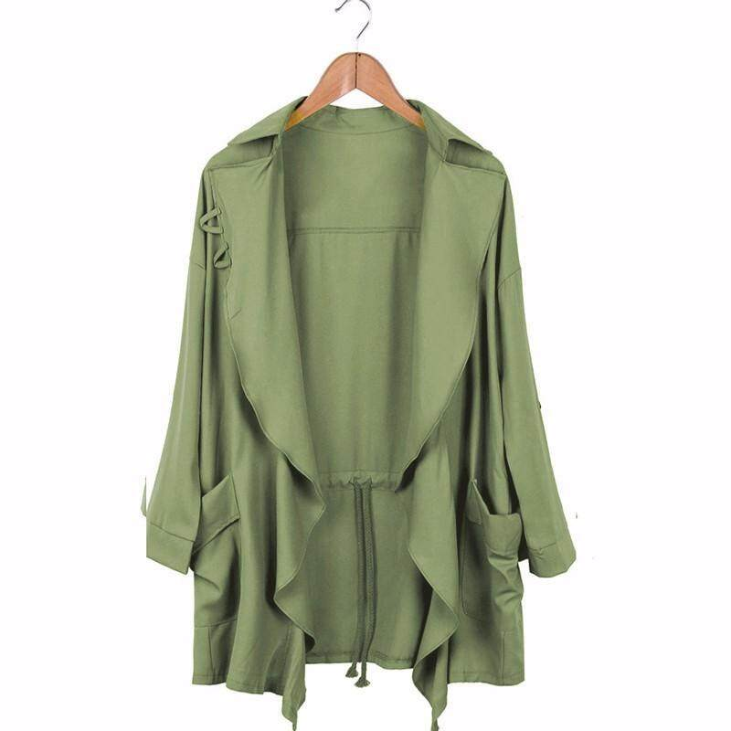 Women Slim Long Windbreaker Parka Jacket Coat Collar Cardigan - Intl