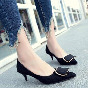 Women Solid Color Suede With High Heeled Shoes(Black) - intl