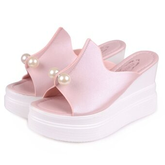 Women Summer Sandals Thick Heel Platform Wedges Sexy Beading Slippers-Pink - intl