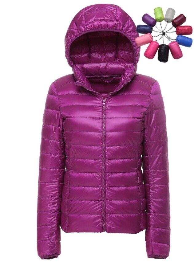 Women Ultra Light Weight Short Down Jacket Packable Hooded Puffer Down Coats Outwear - intl