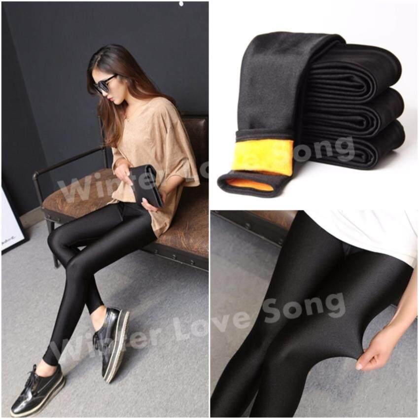 กางเกงเลกกิ้ง Women Winter Leggings Skinny ถุงน่องบุขน สกินนี่บุขน กางเกงเลกกิ้งบุขน กันหนาว รุ่น Metalic บุขนสีเหลืองส้ม(สีดำ)