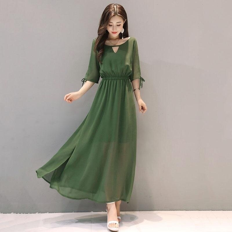 Women's Dress Fashionable Casual Half Sleeve Pure Color Long Chiffon Dress Party Dress (army green) - intl