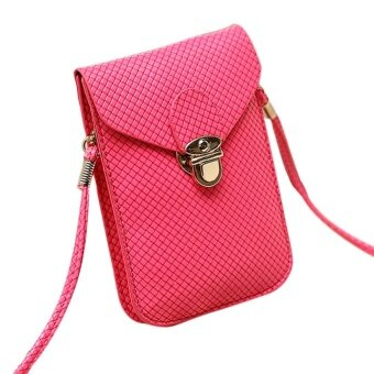 Harga Women's Fashion Woven Bag Satchel Mini PU Leather Bag Small Crossbody Cell Phone Bags Color:Pink - intl
