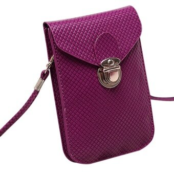 Harga Women's Fashion Woven Bag Satchel Mini PU Leather Bag Small Crossbody Cell Phone Bags Color:Violet - intl