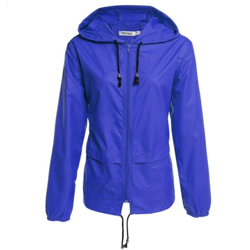 Women's Lightweight Waterproof Outdoor Hoodie Raincoat Cycling Running Sport Jacket Royal Blue - intl