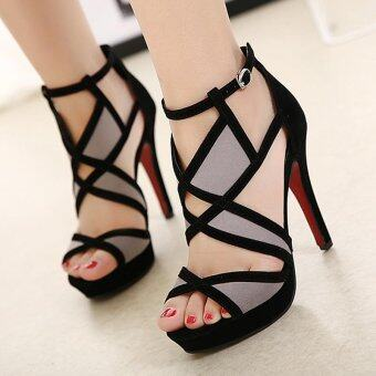 Women's Platform Sandals European Party High Heels Black - intl