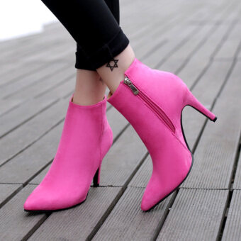 Women's Pointed Toe Stiletto Ankle Boots London Shoes Hotpink