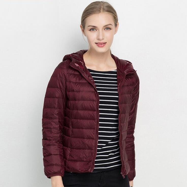 Women's 18 colors New Lightweight Down Jacket breathable Ladies Hooded Short Large Size Authentic Korean (Burgundy) - intl