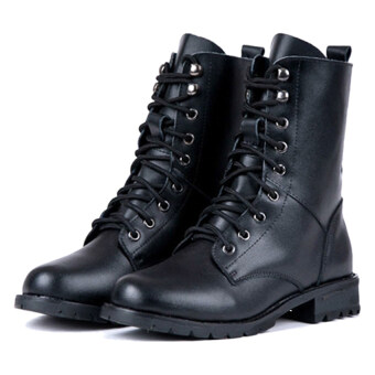 Women's Cool Black PUNK Military Army Knight Lace-up Short Boots Shoes (Multicolor)