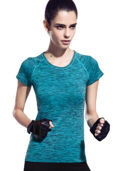 Harga Women's Dri-Fit Slim Sport Tees Top Short Sleeve Round Neck T-ShirtBlue fy-1526 - Intl