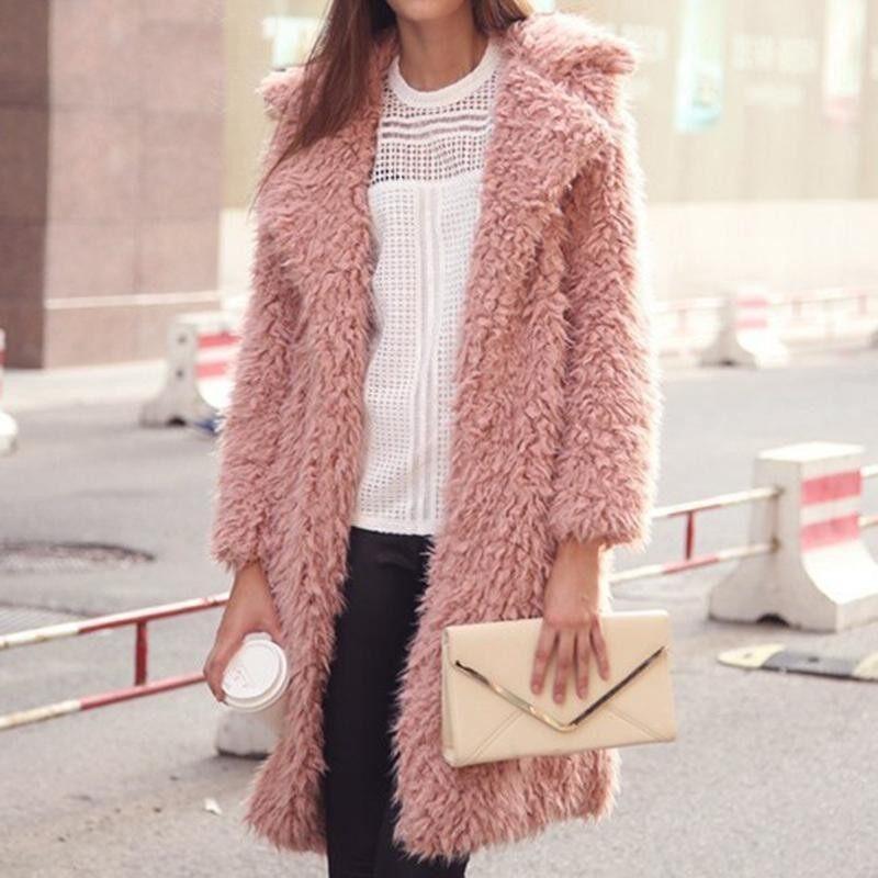 Womens Fuzzy Faux Lamb Fur Coat Long Jacket Notched Lapel Mid Long Coat - intl