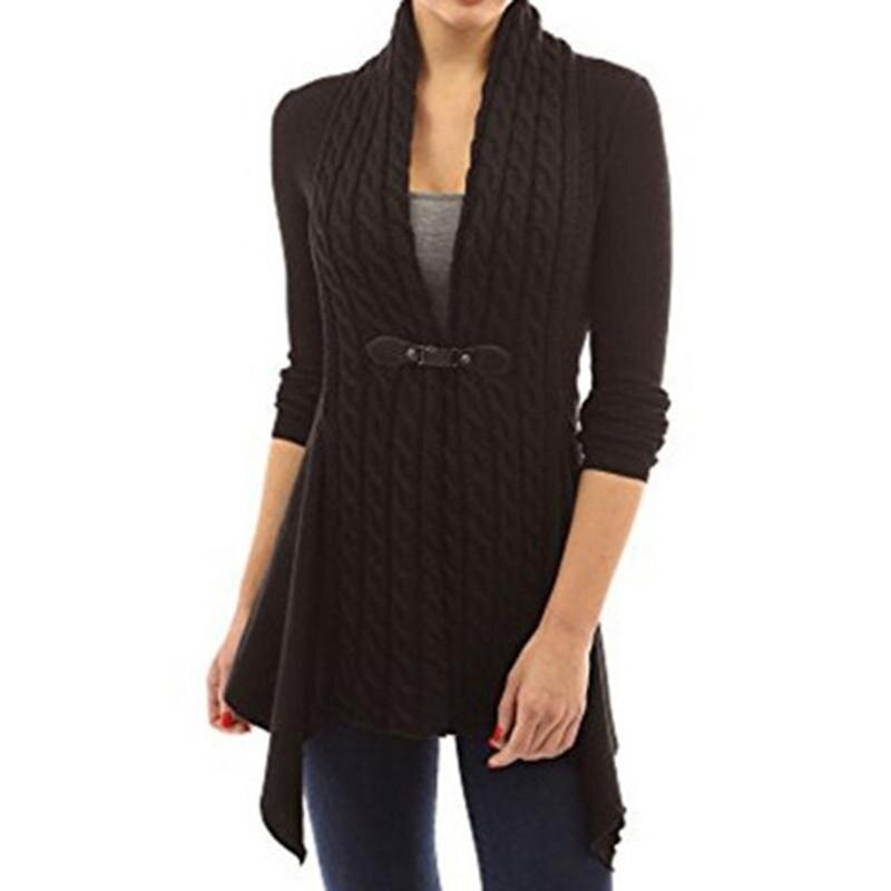 Women's Hot-sale Fashion Cotton V Neck Sweater - Black - intl