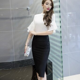 Women's Korean Version New Elastic High Waist Split Package Hip OLPencil Skirt Black - intl