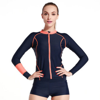 Women's Long-Sleeve Wetsuit Rash Guard Shirt Diving Swim Snorkeling Surf TopsOrange Strip