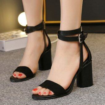 Womens Open Toe Square Heel Suede London Sandals with Buckle Black - intl